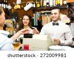 joyful staff working in a bar ... | Shutterstock . vector #272009981