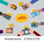 set of hands holding cameras.... | Shutterstock .eps vector #272011754