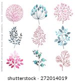 collection watercolor branches  ... | Shutterstock .eps vector #272014019