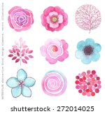collection watercolor flowers ...