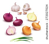 yellow  red and spring onion... | Shutterstock .eps vector #272027024