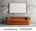mock up poster  leather sofa ... | Shutterstock . vector #272032505