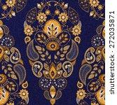 floral seamless pattern. gold... | Shutterstock .eps vector #272035871