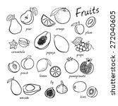 vector seamless fruits set | Shutterstock .eps vector #272040605