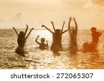 silhouettes of young group of... | Shutterstock . vector #272065307