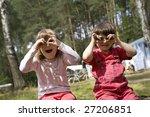 two little cute girl sitting...   Shutterstock . vector #27206851