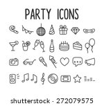 set of hand drawn party themed...