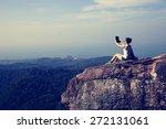 woman hiker use digital tablet...   Shutterstock . vector #272131061