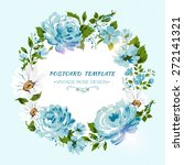 vintage card with flowers  rose ... | Shutterstock .eps vector #272141321
