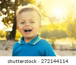 portrait of a happy boy on a... | Shutterstock . vector #272144114