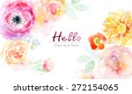 watercolor card with beautiful... | Shutterstock . vector #272154065