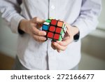 Stock photo boy holding cube selective focus 272166677