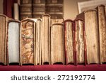 books with leather covers in a... | Shutterstock . vector #272192774