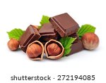 Chocolate With Hazelnuts Closeup