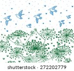 birds flying above heracleum... | Shutterstock .eps vector #272202779