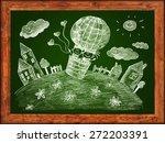 green blackboard with wood...   Shutterstock . vector #272203391