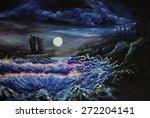 drakkar. impressionism oil... | Shutterstock . vector #272204141