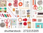 sewing and knitting on white... | Shutterstock . vector #272215205