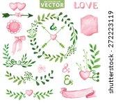 watercolor wedding decor.green... | Shutterstock .eps vector #272223119