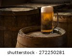Beer Barrel With Beer Glass On...