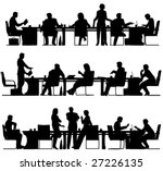 Set of three editable vector foreground silhouettes with all figures and other elements as separate movable objects - stock vector