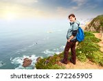hiker with backpack on top of a ...   Shutterstock . vector #272265905