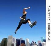 a young blond woman jumping... | Shutterstock . vector #27227542