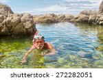 Old Man Doing Snorkelling. Sho...
