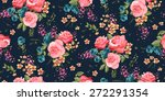 Stock vector classic wallpaper seamless vintage flower pattern background 272291354