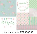 romantic pattern set and... | Shutterstock .eps vector #272306939