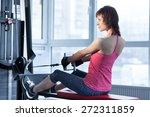 woman doing exercise with pull... | Shutterstock . vector #272311859
