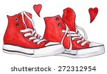 Watercolor Red Sneakers Pair...