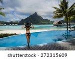 beautiful lady in hat standing...   Shutterstock . vector #272315609