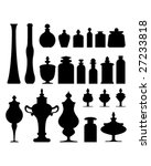 Antique vases, bottles, urns and jars from an apothecary, herbalist, or tea shop - vector silhouette set - stock vector
