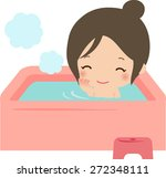 young woman in bathtub | Shutterstock .eps vector #272348111