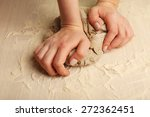 making dough by female hands on ... | Shutterstock . vector #272362451