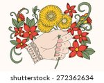hand with bouquet of flowers.... | Shutterstock .eps vector #272362634