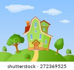 the facade of a small house in... | Shutterstock .eps vector #272369525