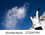 Woman Throwing Some Snow In Th...