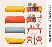 mid century furniture flat... | Shutterstock .eps vector #272399204