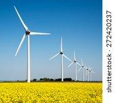 wind turbine in a yellow flower ... | Shutterstock . vector #272420237