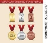 set of gold silver and bronze...   Shutterstock .eps vector #272433647