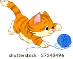 Stock vector image of kitten playing with a ball of yarn 27243496
