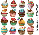 colorful cupcake set vector | Shutterstock .eps vector #272475419