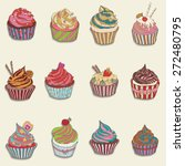 cupcake colorful icon. set of