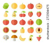 fruit icons in colorful flat... | Shutterstock .eps vector #272506475