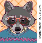 hipster racoon vector... | Shutterstock .eps vector #272519891