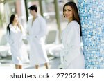 friends dressed in bathrobes... | Shutterstock . vector #272521214