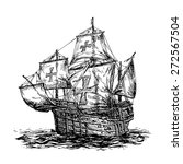 columbus ship hand drawn on... | Shutterstock .eps vector #272567504