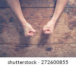 female fists clenched on a... | Shutterstock . vector #272600855